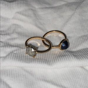 2 gold stone rings